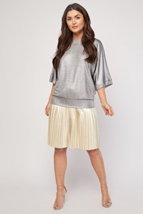 Silver Metallic Batwing Sleeve Top