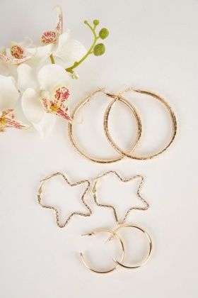 Star Shape And Circle Hoop Earrings Set