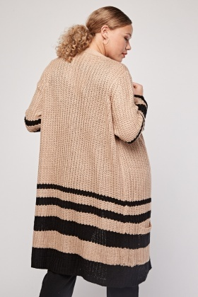 Striped Contrasted Long-Line Cardigan