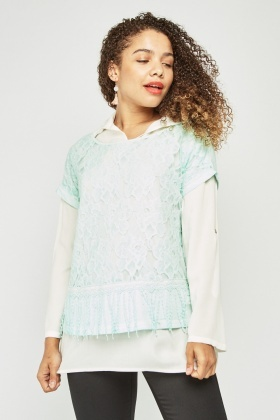 Textured Lace Overlay Shirt