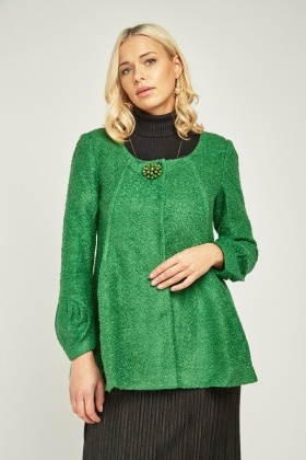Brooch Trim Textured Pea Jacket