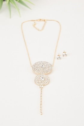 Encrusted Circle Necklace And Earrings Set