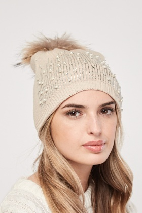 Faux Pearl Encrusted Beanie Hat