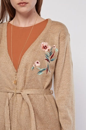 Floral Embroidered Belted Cardigan