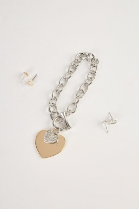 Heart Charm Bracelet And Stud Earrings Set