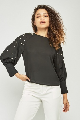 Layered Pearl Trim Sleeve Blouse