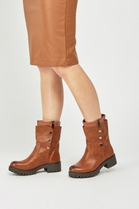 Popper Side Chunky Ankle Boots