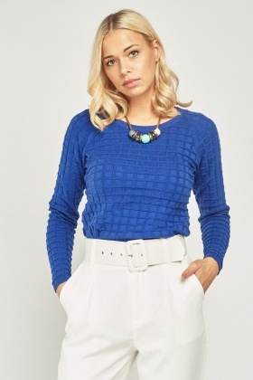 Window-Pane Textured Knit Top