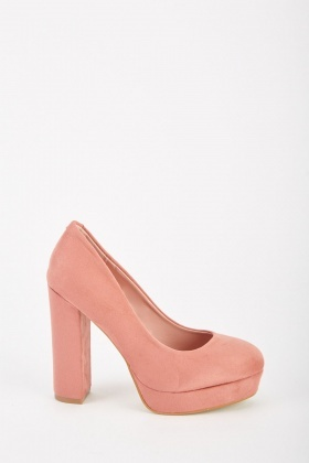 6acd8676689 Block Heeled Suedette Pumps