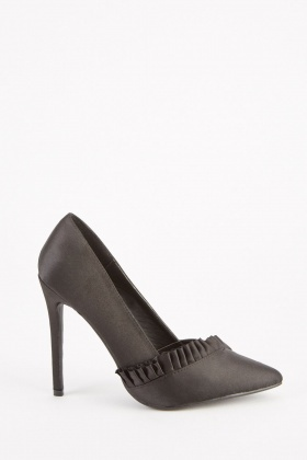 Sateen Frill Trim Court Heels