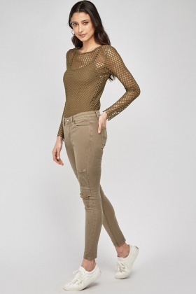 Distressed Skinny Biker Trousers Olive Just 163 5