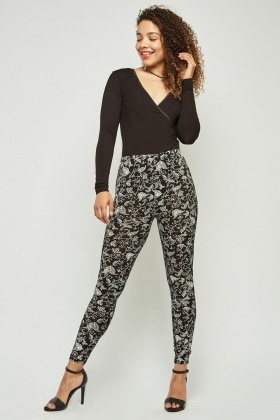 Ethnic Print Basic Leggings