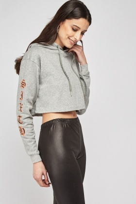 Graphic Print Speckled Crop Hoodie