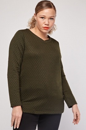 V-Neck Stitched Embossed Sweatshirt