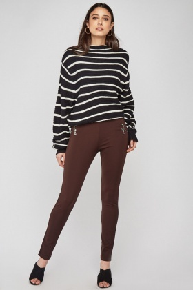 Zipper Front Skinny Treggings