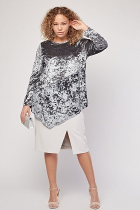 Crushed Velveteen Asymmetric Top