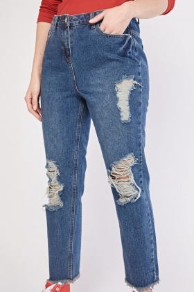 Distressed Raw Hem Boyfriend Jeans