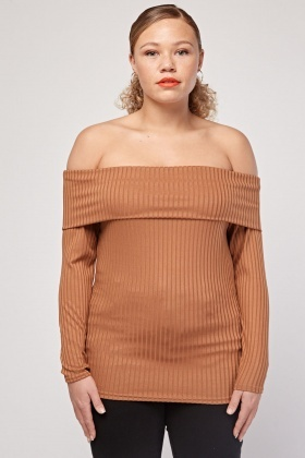 Off Shoulder Ribbed Top