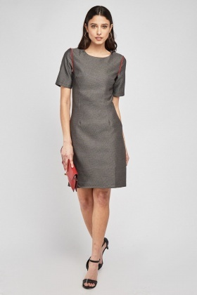 Patterned Contrasted Trim Dress