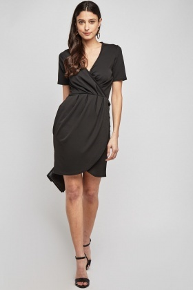 Short Sleeve Ruched Tulip Dress