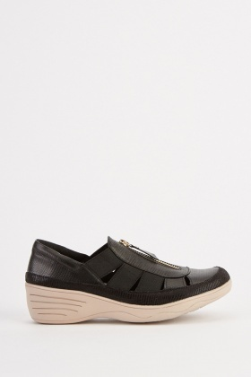 Contrasted Cut Out Wedge Shoes