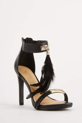 Feather Trim Heeled Sandals