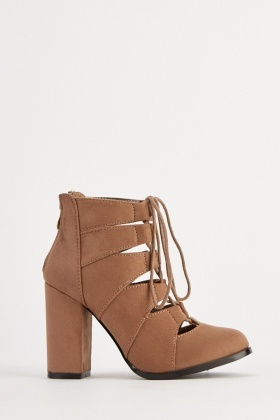 Lace Up Cut Out Heeled Boots