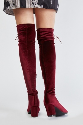 Lace Up Velveteen Peep Toe Boots