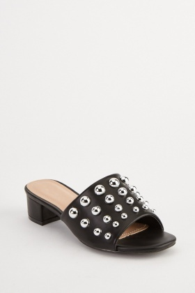 Studded Black Mule Shoes