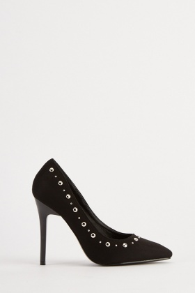 Studded Faux Suede Court Heels