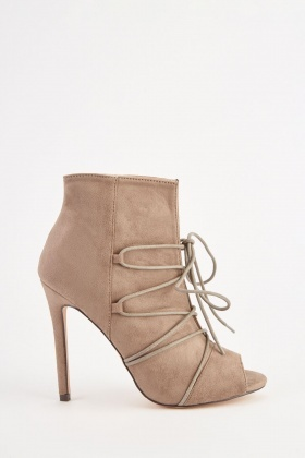 30220b51239 Taupe Lace Up Peep Toe Boots