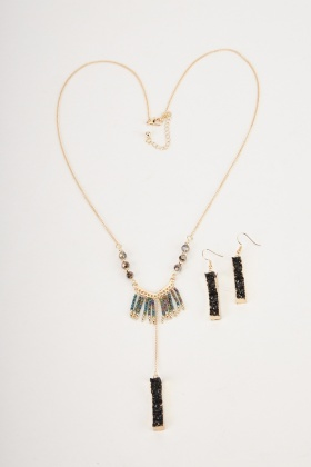 Beaded Necklace And Dangly Earrings Set