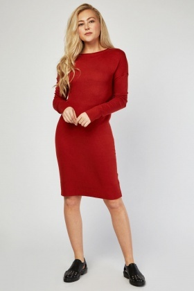 Crew Neck Fine Knit Jumper Dress