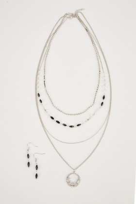 Layered Necklace And Earring Set