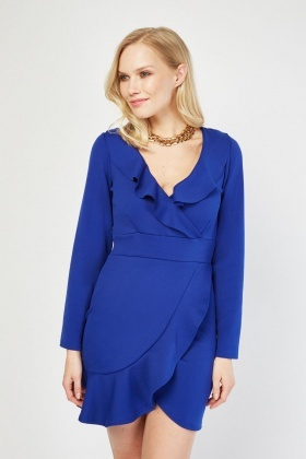 Ruffle Trim Mini Wrap Dress