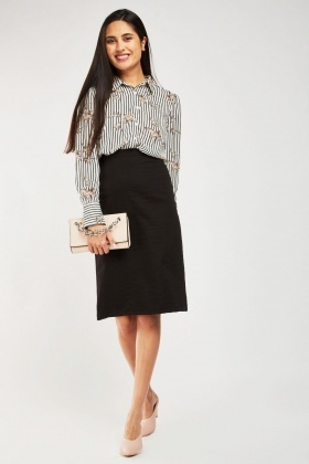 Crinkled Textured Midi Skirt