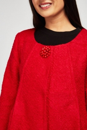 Decorative Broach Textured Pea Jacket
