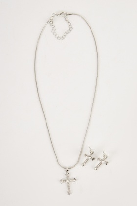 Encrusted Cross Pendant Necklace And Earrings Set