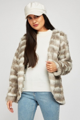 Faux Fur Stripe Contrast Jacket
