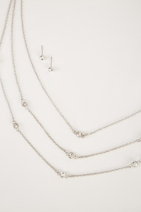 Layered Necklace And Stud Earrings Set