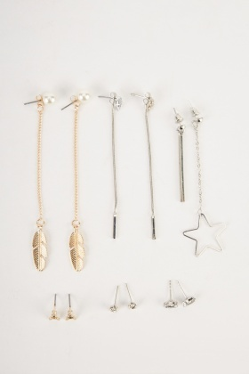 Mixed Dangle And Stud Earrings Set