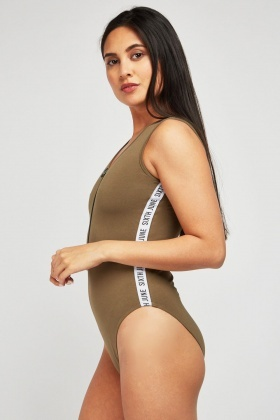 Sleeveless Bodysuit With Side Logo