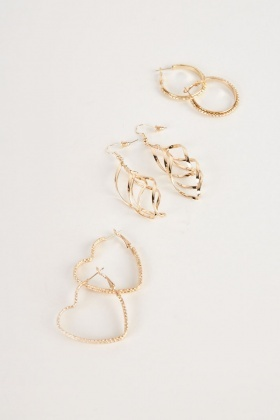 Spiral Contrast Hoop Earrings Set