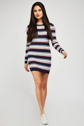 Striped Ribbed Mini Dress