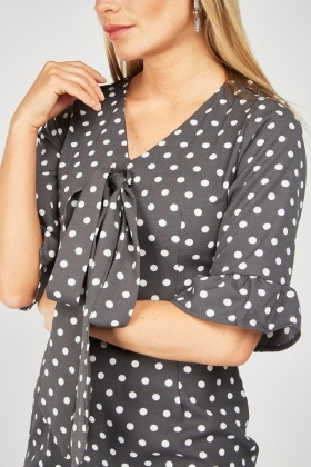 Tie Up Polka Dot Pencil Dress