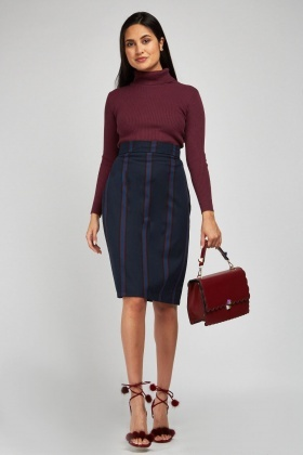 Vertical Stripe Midi Pencil Skirt