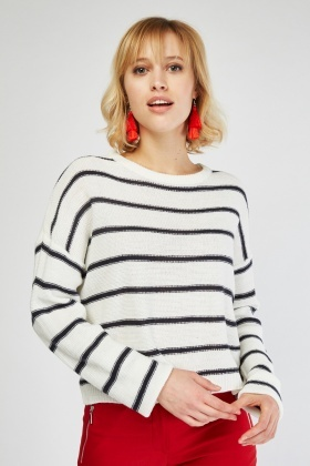 Lace Up Back Striped Knit Top