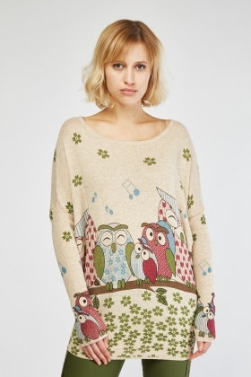 Owl Printed Knit Sweater