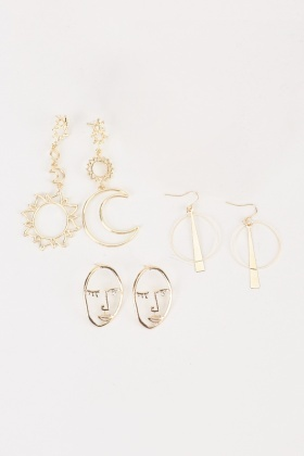 Set Of 3 Face And Starry Night Earrings