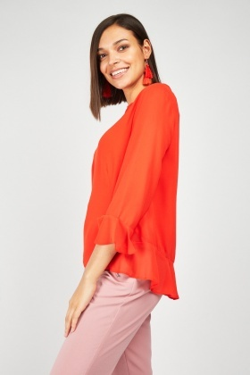 Sheer Ruffle Sleeve Hem Blouse